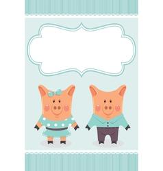 cartoon pig invite vector image vector image