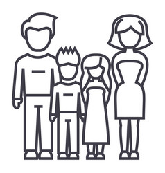familyfather mother son daughter line vector image