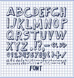 fonts hand drawn elements alphabet written ink pen vector image