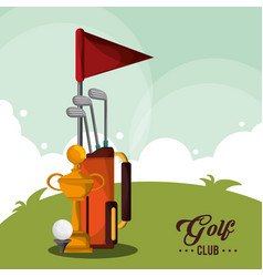 golf club bag trophy and ball vector image vector image