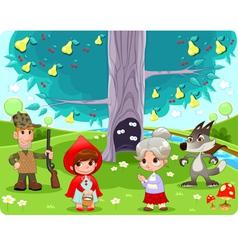 Little Red Hiding Hood scene vector image vector image