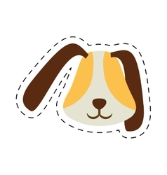 puppy face ear long brown pet line dotted vector image vector image