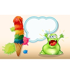 A fat green monster shouting near the giant vector image vector image