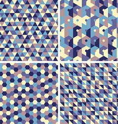 Four seamless geometric retro patterns vector image vector image