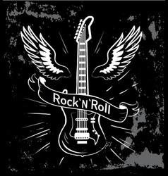 rock n roll guitar and wings vector image vector image