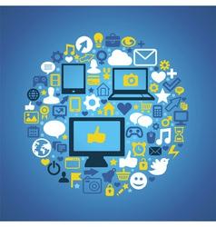 Round social media concept vector