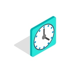 Square wall clock icon isometric 3d style vector image vector image