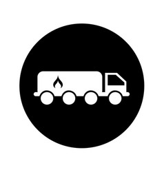 Tanker truck with flame vector