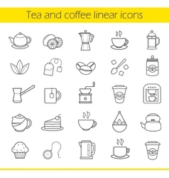 Tea and coffee icons vector image