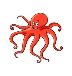 Cartoon red ocean octopus character vector image