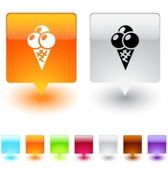 icecream square button vector image vector image