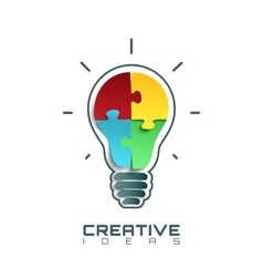 Light bulb icon with jigsaw puzzle pieces inside vector image