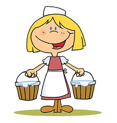 Maid Milking vector image vector image