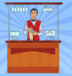 Pop art smiling bartender wiping glass in bar vector