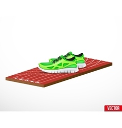 Symbol of a run shoes and athletic track vector image vector image