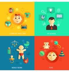 Children concept flat icons vector image
