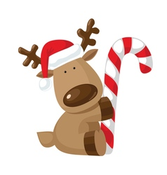 Christmas reindeer holding candy cane vector image vector image