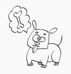 dog think about bone freehand sketch vector image vector image
