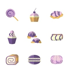 Flat color icons for pastry vector image