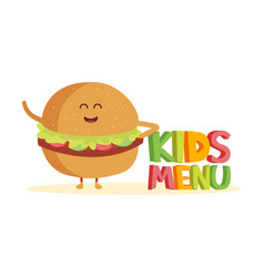 kids menu funny 3d sign with burger characters vector image vector image