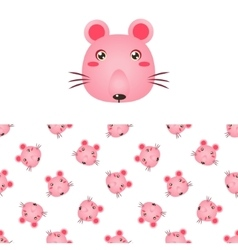 Mouse Head Icon And Pattern vector image