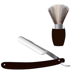Razor and shave brush vector image