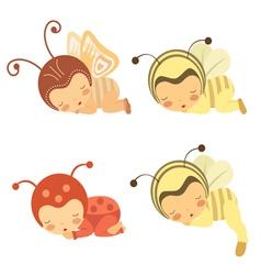 Sleeping Babies set vector image vector image