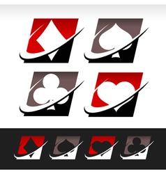 Swoosh poker icons vector