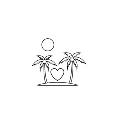 Tour in valentines day line icon travel island vector