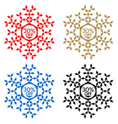 30 off discount sticker snowflake 30 off sale vector image