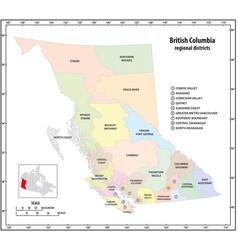 administrative map british columbia vector image