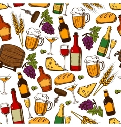 Alcoholic drinks and cocktails seamless pattern vector image