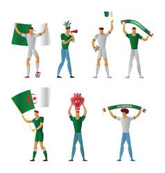 algeria football fans cheerful soccer vector image