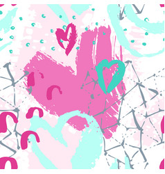 art seamless pattern with shabhearts rough vector image