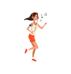 beautiful brunette woman listening to music vector image