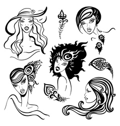 Beautiful Women set vector