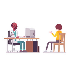 Black male doctor therapist consulting patient vector