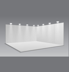 Blank display exhibition stand white empty panels vector