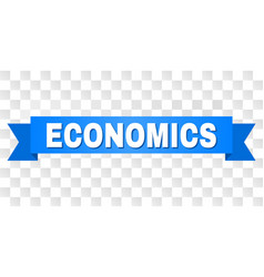 Blue ribbon with economics caption vector