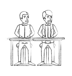 Blurred silhouette of men sitting in desk one with vector