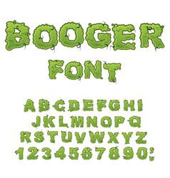 Booger font slippery lettering snivel alphabet vector