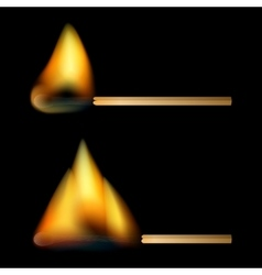 Burning matches on black background vector image