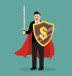 Businessman with shield and sword vector image