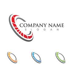 C letter faster logo template icon design vector