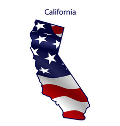 California full american flag waving in the vector