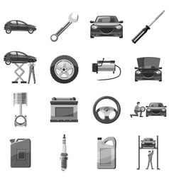 Car service repair icons set gray monochrome style vector