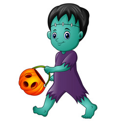 Cartoon frankenstein with pumpkin basket vector
