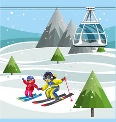 Cartoon parents and little kids skiing together vector