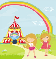 Children waiting for the opening of the circus vector image