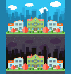 city with three two-story cartoon houses vector image